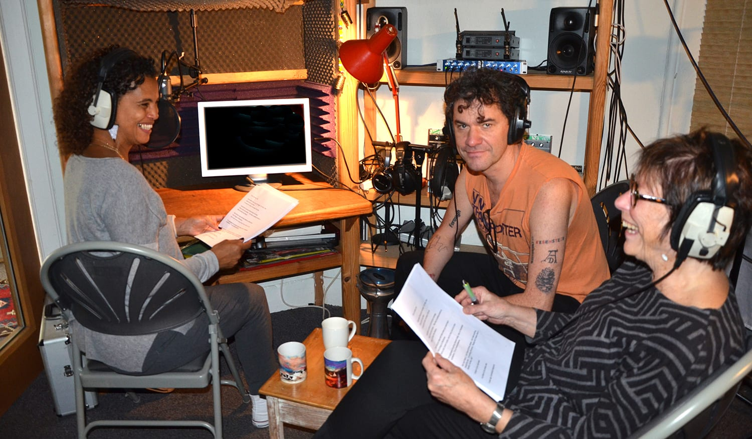 Neneh Cherry & Mark Cousins recording a Voice Over for Stockholm My Love at Offbeat Studios