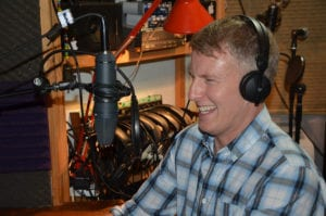 Patrick Kielty recording a voice over at Offbeat Studios